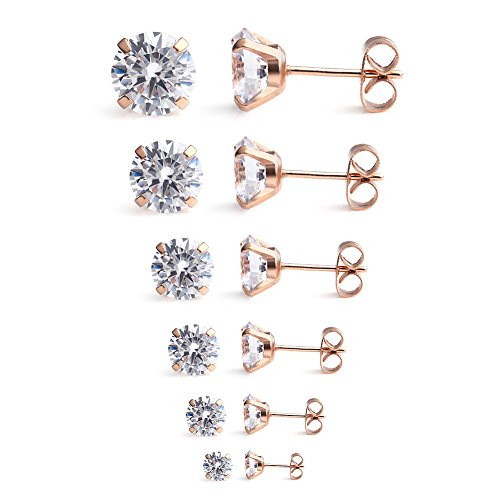 Ruifan Stainless Zirconia Earrings 7Pairs product image