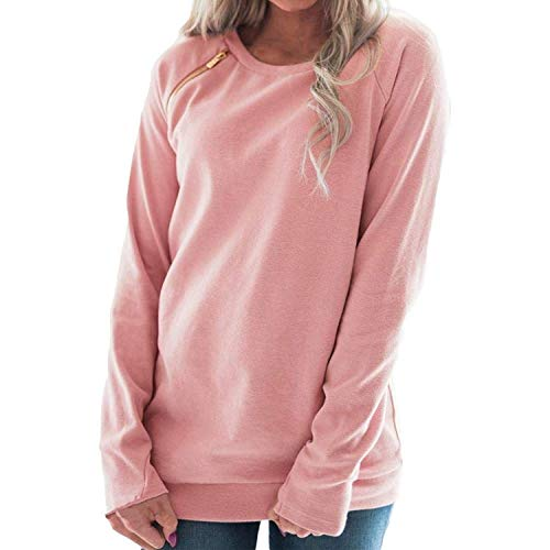 - MOONHOUSE ❤️❤️Women's Solid Winter Coat Blouse- Long Tops Pullover Sweatshirt Jacket Outwear Plus Size with Zip (XL, Pink)