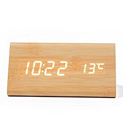 Wooden Alarm Clock,Dual Power Wooden LED Digital Alarm Clock, Displays Time Date And Temperature, Cube USB 4AAA Battery Powered Sound Control Desk Alarm Clock for Kid,Heavy Sleepers By SL (Bamboo)