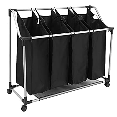 PaPafix Laundry Sorter Cart 4-Bag Folding Heavy-Duty Rolling Laundry Hamper /Organizer with Removable Bags & Wheels, Black - STURDY FRAME: Strong and sturdy design with a chromed metal frame and Metal handles; A wire grid along the base for extra stability and even support of full laundry bags HEAVY DUTY CASTERS: Commercial grade swivel wheels take heavy loads and rolls smoothly; 2 of the casters are lockable to keep the unit in one place for added steadiness 4 REMOVABLE BAGS: 4 removable 600D polyester bags with inner PVC coated, environmental friendly and Waterproof & Dustproof, also easy to clean - laundry-room, hampers-baskets, entryway-laundry-room - 41t0cLauJPL. SS400  -