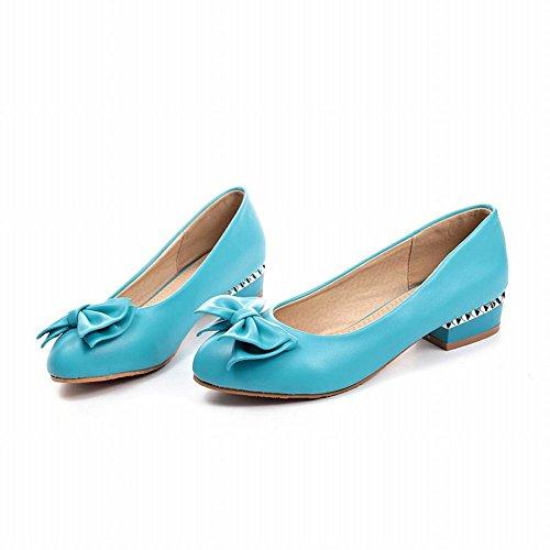 Carolbar Womens Bows Chic Sweet Charm Fashion Elegance Low Heel Dress Loafers Shoes Blue DU61nBMVT