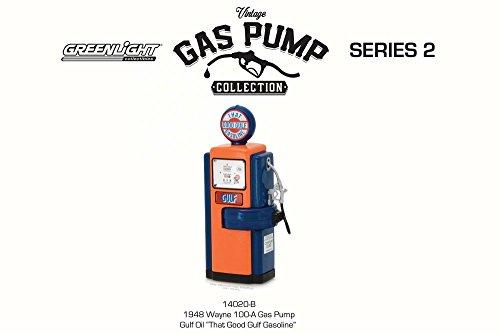1948 Wayne 100 A Gulf Oil Gas Pump  Orange W  Blue   Greenlight 14020B   1 18 Scale Diecast Model Vehicle Accessory