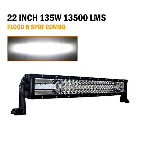VehiCode 22 Inch Curved Triple Row LED Driving Fog Pod Light Bar Kit - Cree Spot Flood Combo @ 135W 13,500LM 6000K White - Adjustable Bracket Hood Bumper Mount for Jeep Wrangler, Chevy, ATV