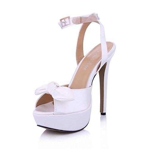 Shoes Best Sole Buckle Silk Platforms Bow Women's Wedding toe Rubber Summer 14CM 4U Sandals One Heels Shoes 3CM High Peep Faux Pumps rrHq1Twx