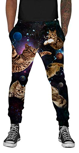 (Belovecol Galaxy Cat Joggers Sweatpants for Mens Womens 3D Print Graphic Space Cat Active Sports Track Pants Gym Trousers M )