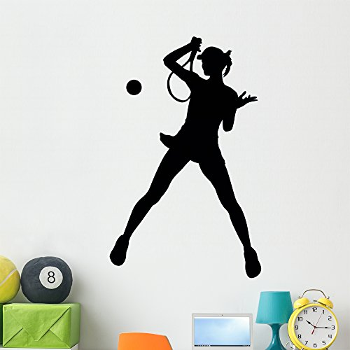 Wallmonkeys Female Player Tennis Wall Decal Peel and Stick Graphic (48 in H x 32 in W) WM68220