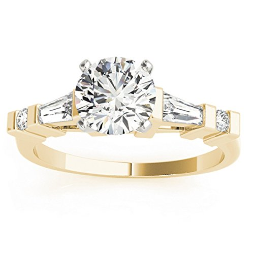 (0.33ct) 18k Yellow Gold Diamond Accented Prong-Set Tapered Baguette Engagement Ring Setting