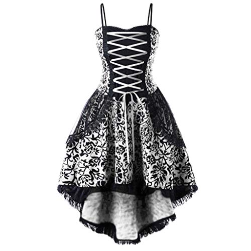 - ♡QueenBB♡ Women's Floral Lace Up Vintage Dress Plus Size Trappy Corset Dress Gothic Halloween Clubwear Lace Skirt White
