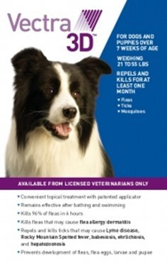 VECTRA 3D 6 Pack Blue for Medium Dogs 21-55 Pounds USA Version EPA Registered (Controls Fleas, Ticks, Mosquitoes, Lice, Mites, and Sand Flies) by VECTRA 3D