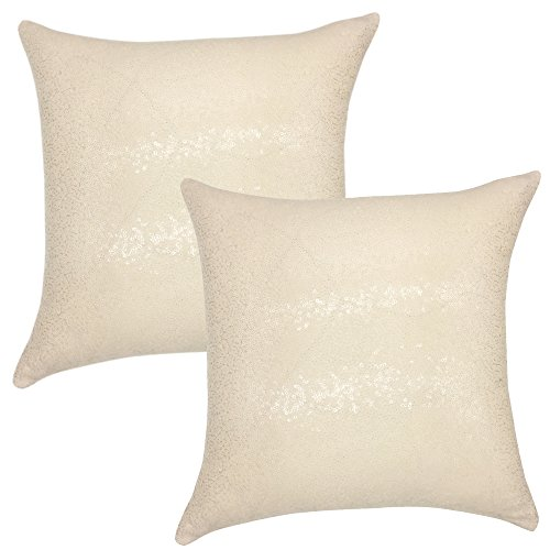 Large Beige Satin - YOUR SMILE Pack of 2, New Luxury Series Beige Decorative Glitzy Sequin & Comfy Satin Solid Throw Pillow Cover Cushion Case 17