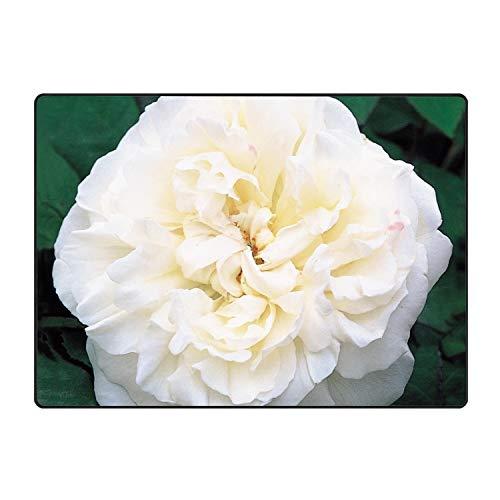 Soft Non-Slip White David Austin Roses Bath Mat