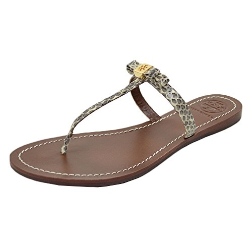 (Tory Burch Leighanne Dune Snake Print Flat Thong Sandals Natural Roccia Size 8)