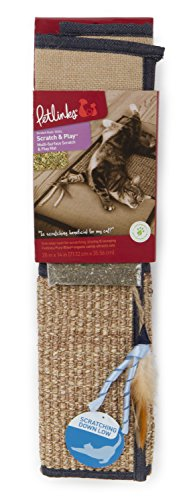 Petlinks Scratch & Play Multi-Surface Scratch Mat with Organic Catnip and Cat Toy, Denim For Sale