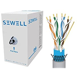 Sewell SW-9421 PureRun Shielded Cat5e Bulk Cable - 1000 Feet (302 Meters) - Grey 1 1000 foot (302m), Foil and Braid Shielding, STP Spool box provides easy deployment 24 awg