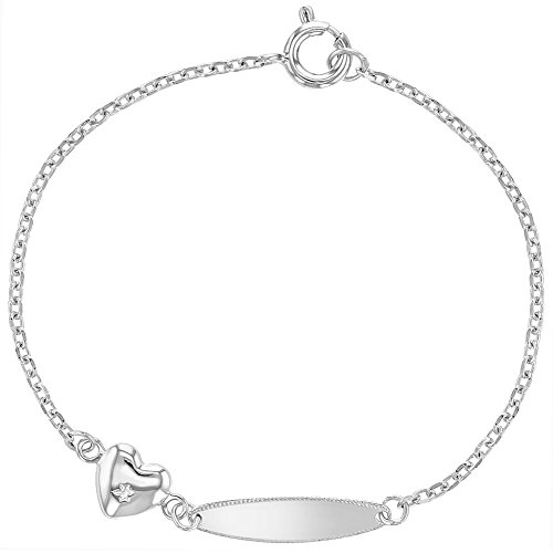 925 Sterling Silver Baby Tag ID Identification Heart Charm Bracelet Toddler 5