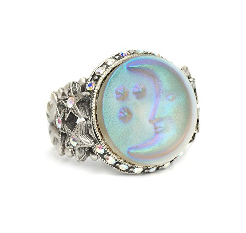 Sweet Romance Cameo Crescent Moon and Star Ring