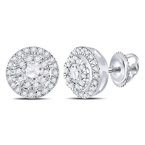 (Diamond Circle Cluster Stud Earrings 1/2ct 10k White Gold)