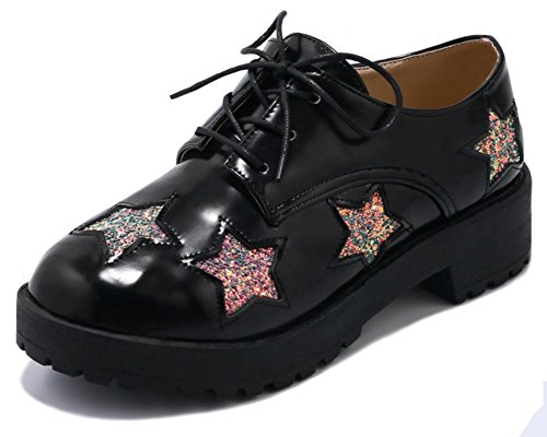 Mofri Women's Stylish Sequined Stars Round Toe Low Top Low Block Heel Lace up Oxfords Shoes (Black, 4 B(M) US) by Mofri