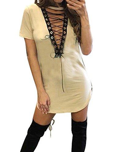 Auxo Mujer Algodón Vestidos Casuales V Cuello Manga Corta Tops Largos Hollow Dress Beige