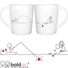 "BoldLoft ""Catch My Heart"" Couple Coffee Mugs-Romantic Valentine's Day Gifts for Couples,Cute Valentines Gifts for Him or Her,Romantic Anniversary Gifts"