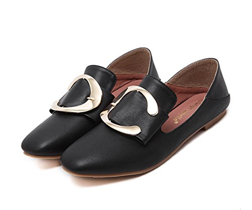 Square No Black Closure Toe Urethane Shoes Flats Buckle Womens 1TO9 6PqEIx