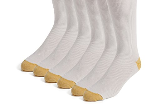 The Right Fit Novelty Men's Long Cotton Ribbed Over-the-Calf Tube Cushion Socks: AKA Novelty Athletic Knee High Socks for Athletes and Sports Players, White, 6 Pack, - Striped Socks White Tall