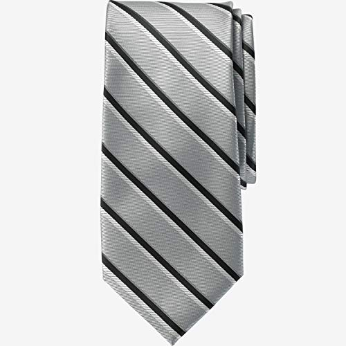 (Ks Signature Men's Big & Tall Classic Stripe Tie, Silver Stripe Big-0)