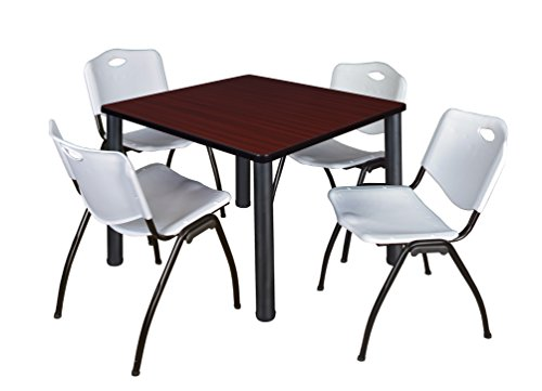 "Kee 36"" Square Breakroom Table- Mahogany/ Black & 4 'M' Stack Chairs- Grey"