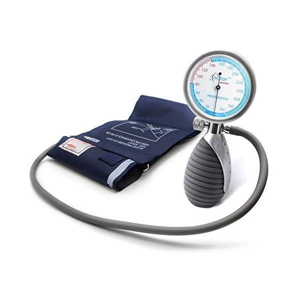 AIESI® Esfigmomanometro Manual Profesional Aneroide Tensiómetro palmar con brazalete de nylon para adultos DOCTOR… 2