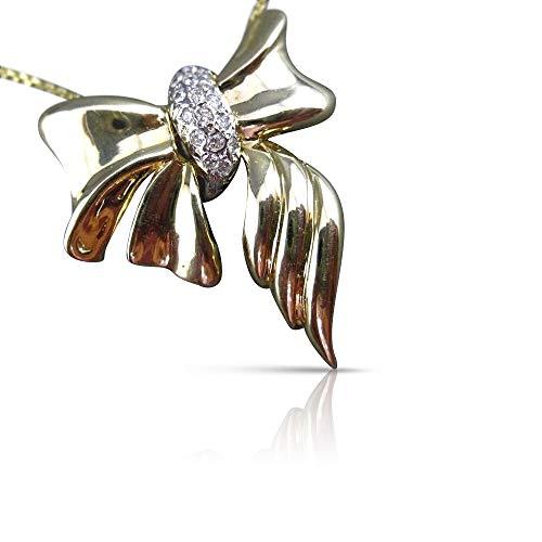 Milano Jewelers Large .20CT Diamond 14K White & Yellow Gold Bow TIE Slide Pendant #22963