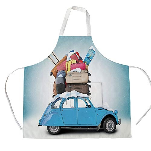 iPrint Cotton Linen Apron,Two Side Pocket,Winter,Traveling Themed Snowy Image Ski Baggage Items Blue Vintage Car Holiday Photograph Decorative,for Cooking Baking Gardening