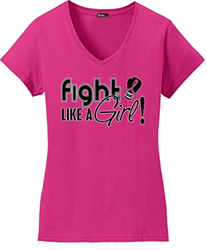 Fight Like a Girl Signature Breast Cancer T-Shirt Ladies V-Neck Hot Pink -