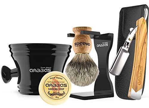 Anbbas Shaving Set with Best Badger Shaving Brush,Stand and Resin Bowl,Shaving Soap 3.5oz,Solid Olive Wood Handle Straight Razor,Leather Shaving Razor Bag,10pcs Blades,7in1 Kit for Men