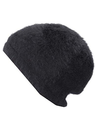 Dahlia Women's Angora Beanie Hat - Super Soft & Warm Velour Lining - Black -
