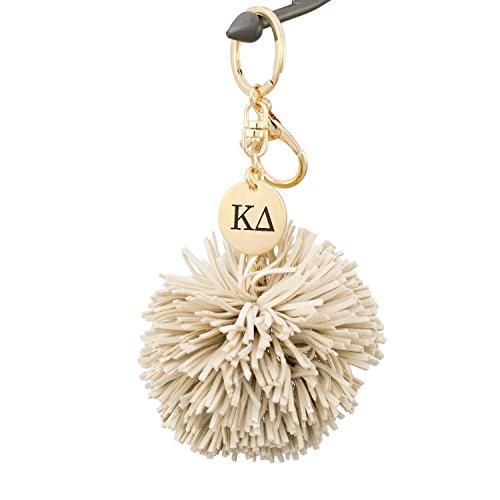 Sorority Charm Keychain - A-List Greek Kappa Delta Pom Tassel Keychain Sorority Key Chain with Laser Engraved Charm - Color Beige