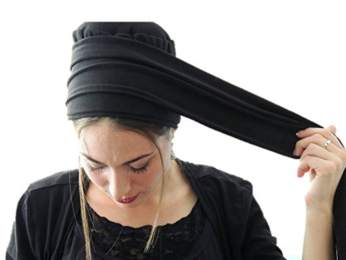 Sara Attali Design Tichel Volumizer Head Scarves Chemo Volumizing Hijab Strip Plus Black