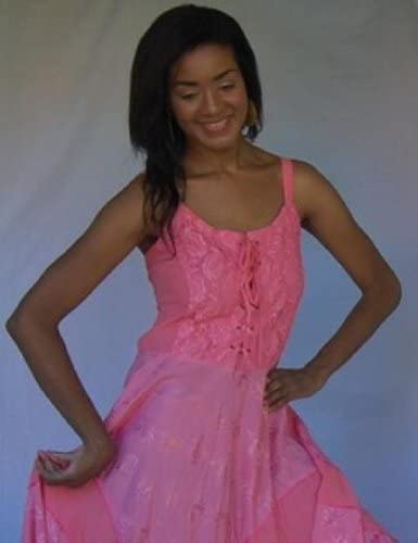 LOTUSTRADERS Dress Lace Up Semi Sheer Straps C873