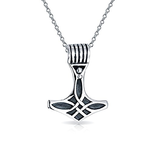 Antique Style Pendant Necklace (Bling Jewelry Thors Hammer Celtic Knot Antique Style Pendant Sterling Silver Necklace 18 Inches)