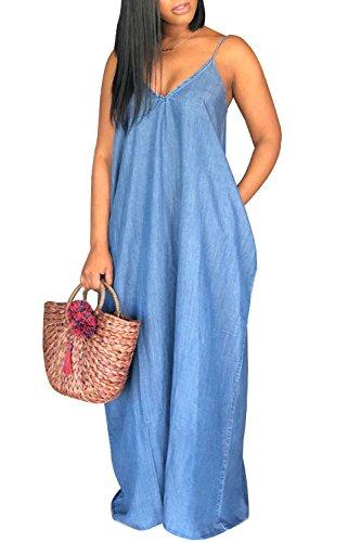 Denim Maxi Dress - Leezeshaw Women Casual Condole Belt Deep V Neck Loose Denim Maxi Dress