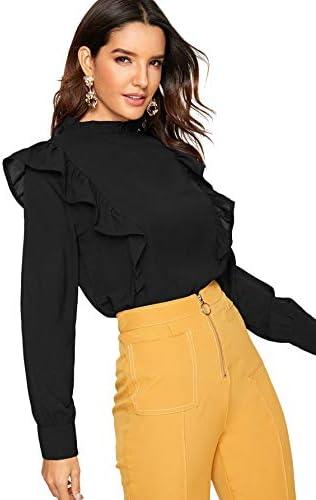 SheIn Women's Long Sleeve Button Ruffle Trim Work Shirt Chiffon Blouse Top