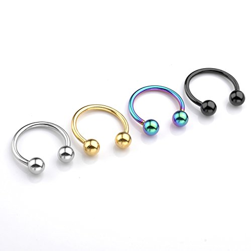 Jewelry Captive Nipple Ring Body (PiercingJ 8pcs 14G Stainless Steel Horseshoe Hoop Multi-functional Captive Ring for Nose Daith Lip Eyebrow Nipple Ear Cartilage Helix Tragus Septum Body Piercing Jewelry Colorful)