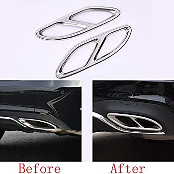 Stainless Steel Car Rear Pipe Throat Exhaust Outputs Tail Frame Trim 2pcs For Mercedes Benz A/B/C/E Class W213 W205 GLC GLE GLS 2015-2017