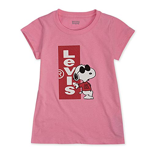 Levi's Girls' Toddler Graphic Logo T-Shirt, Pink Snoopy, -