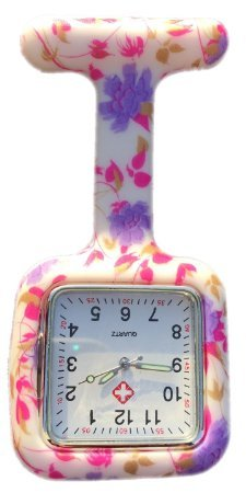 Silicone Watch Nurse Doctor Paramedic Tunic Brooch Fob Watch Medical (Square Pale Purple Flowers)