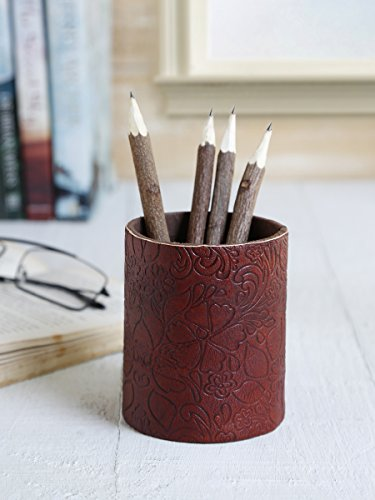 3.5' Rose (Office Pen Stand Pencil Holder Leather Covering 3.5'' Embossed with Floral Print)