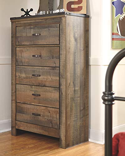 Ashley Furniture Signature Design - Trinell Chest - 5 Drawers - Nailhead Accents - Rustic Brown Finish - Antiqued Bronze…