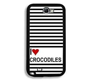 Love Heart Crocodiles Samsung Galaxy Note 2 Note II N7100 Case - Fits Samsung Galaxy Note 2 Note II N7100