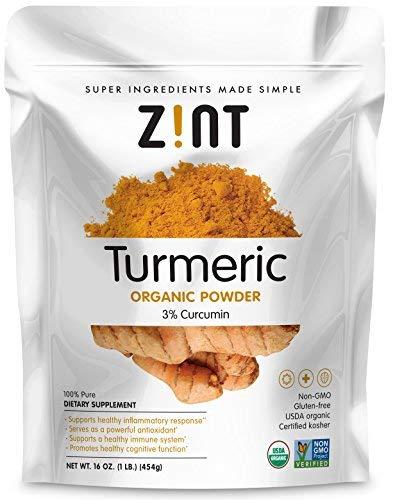Zint Organic Turmeric Powder: Raw Turmeric Curcumin Supplement Spice, 16 Ounce