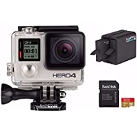GoPro HD Hero4 Silver Action Camcorder with Dual Battery Charger and 16GB MicroSD Card