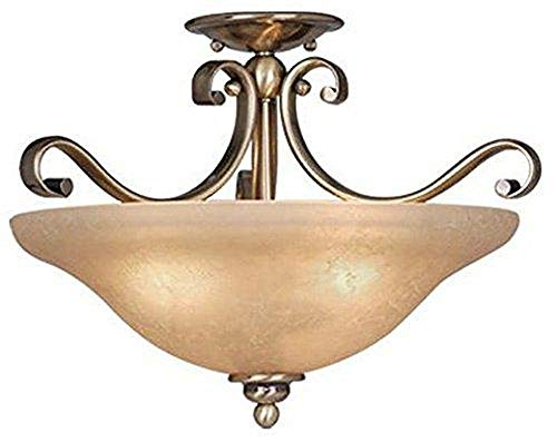- Vaxcel CF35417A/C Monrovia Semi Flush Ceiling Light, Antique Brass Finish with Cognac Crackle Glass